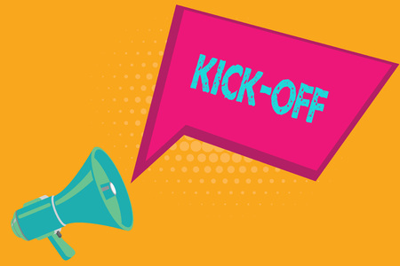 Conceptual hand writing showing Kick Off. Business photo text start or resumption of football match in which player kicks ball.