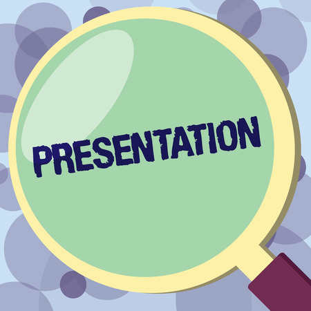 Text sign showing Presentation. Conceptual photo Speech or talk in which a new product demonstrating idea work is shown.