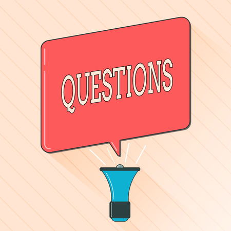 Word writing text Questions. Business concept for Interrogative expression Requesting answers Asking for solutions.