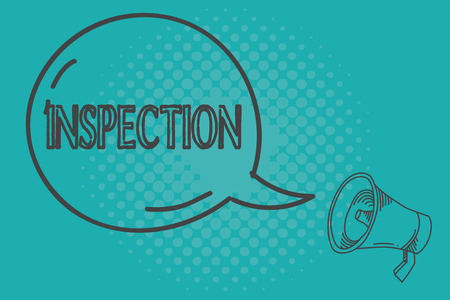 Writing note showing Inspection. Business photo showcasing Careful examination or scrutiny Investigation Review Evaluation. Stock Photo
