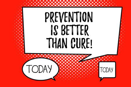 Tekst pisania słów Zapobieganie jest lepsze niż leczenie. Koncepcji biznesowej dla choroby można zapobiec, jeśli zostanie zidentyfikowana wcześniej.