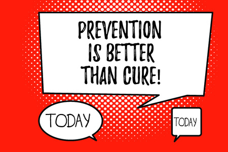 Wort schreiben Text Prävention ist besser als heilen. Geschäftskonzept für Krankheiten ist vermeidbar, wenn es früher identifiziert wird.