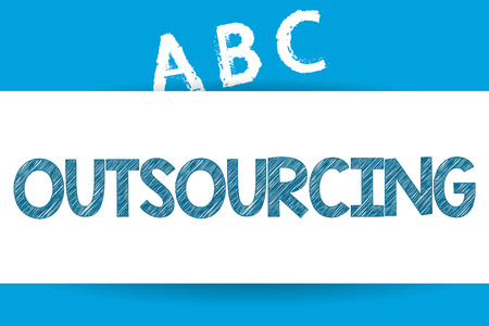 Text sign showing Outsourcing. Conceptual photo Obtain goods or service by contract from an outside supplier. Standard-Bild