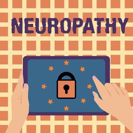 Writing note showing Neuropathy. Business photo showcasing Malfunctions of the nerves Loss of sense in the hands and feet.