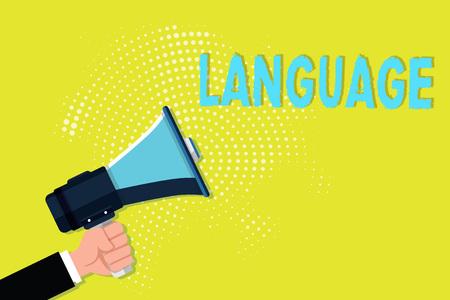 Writing note showing Language. Business photo showcasing method huanalysis communication either spoken written consisting words.