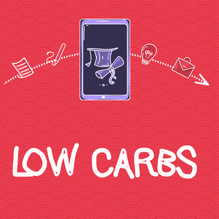 Word writing text Low Carbs. Business concept for Restrict carbohydrate consumption Weight loss analysisagement diet.