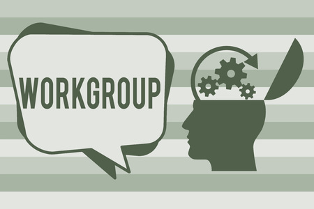 Conceptual hand writing showing Workgroup. Business photo text Group of showing who normally work together Team Coworkers.
