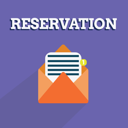 Writing note showing Reservation. Business photo showcasing Arrangement made so a seat somewhere is kept for someone.