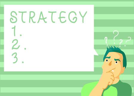 Écrit remarque montrant la stratégie. Photo d'entreprise présentant un plan d'action conçu pour atteindre un objectif global ou à long terme. Banque d'images