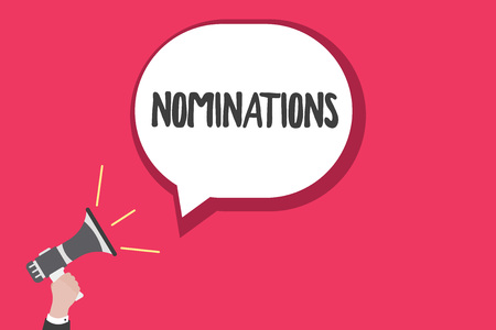 Escritura de texto Word nominaciones. Concepto de negocio para sugerencias de alguien o algo para un puesto de trabajo o premio.