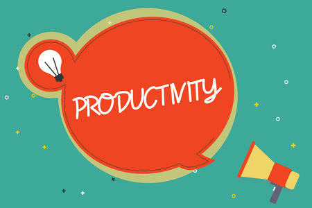 Text sign showing Productivity. Conceptual photo State or quality of being productive Effectiveness Success.