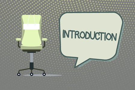 Writing note showing Introduction. Business photo showcasing First part of a document Formal presentation to an audience.
