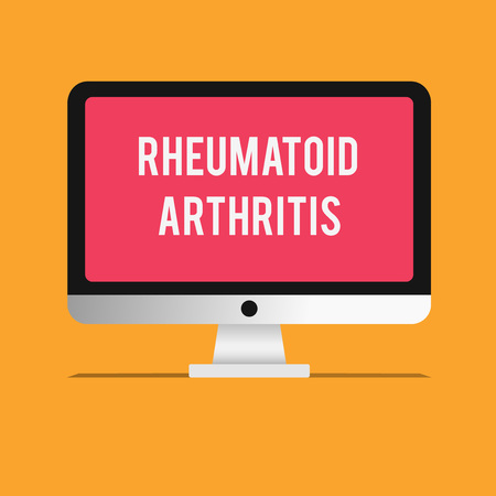 Writing note showing Rheumatoid Arthritis. Business photo showcasing autoimmune disease that can cause joint pain and damage.