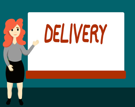 Handwriting text Delivery. Concept meaning action of delivering letters parcels or goods Giving birth. Stok Fotoğraf - 110449620