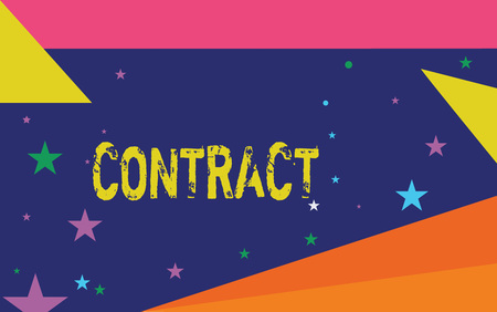 Handwriting text writing Contract. Concept meaning written or spoken agreement especially one concerning employment.