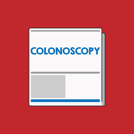 Writing note showing Colonoscopy. Business photo showcasing Endoscopic examination of the large bowel Colon diagnosis.