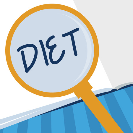 Writing note showing Diet. Business photo showcasing Healthy lifestyle Reduce food intake Vegetarian No to cholesterol.