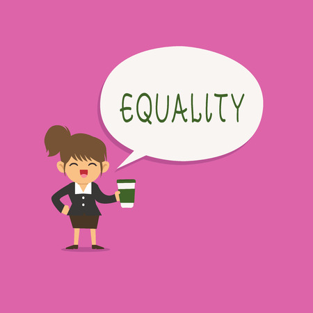 Writing note showing Equality. Business photo showcasing state of being equal especially in status rights or opportunities.