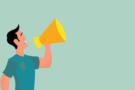 Flat design business Vector Illustration Empty template esp isolated Minimalist graphic layout template for advertising. Man in Shirt Standing Talking Holding a Megaphone Male Calling Out onto