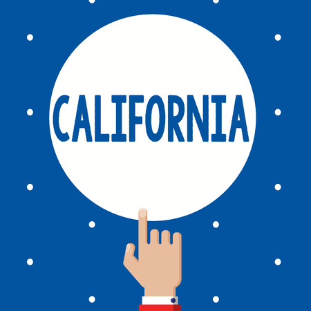 Handwriting text California. Concept meaning State on west coast United States of America Beaches