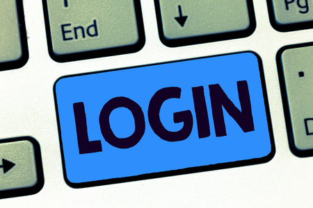 Word writing text Login. Business concept for Entering website Blog using username and password Registration.