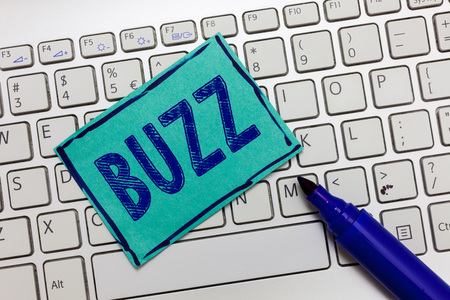 Handwriting text Buzz. Concept meaning Move quickly Atmosphere of excitement and activity Rumor Telephone call. Фото со стока