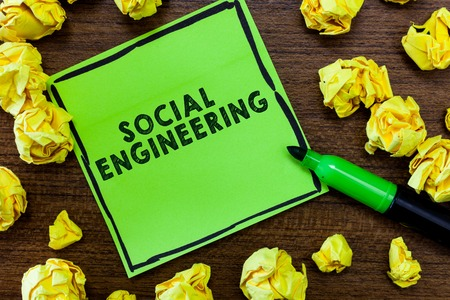 Text sign showing Social Engineering. Conceptual photo Psychological Manipulation Gain Access thru Fraud. Stock Photo