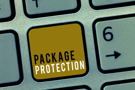 Word writing text Package Protection. Business concept for Wrapping and Securing items to avoid damage Labeled Box. Zdjęcie Seryjne
