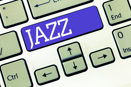 Text sign showing Jazz. Conceptual photo Forceful rhythm Using brass and woodwind instruments to play the music.
