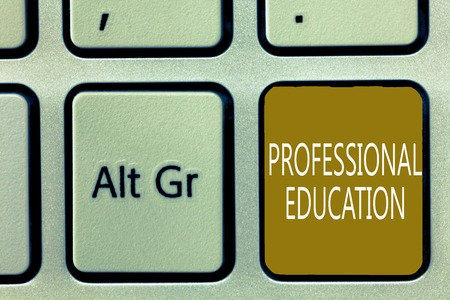 Text sign showing Professional Education. Conceptual photo Continuing Education Units Specialized Training.