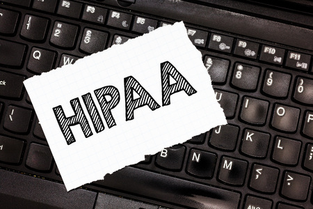 Writing note showing Hipaa. Business photo showcasing Acronym stands for Health Insurance Portability Accountability.