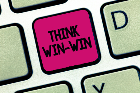 Text sign showing Think Win Win. Conceptual photo Agreements or solutions are mutually beneficial and satisfying.