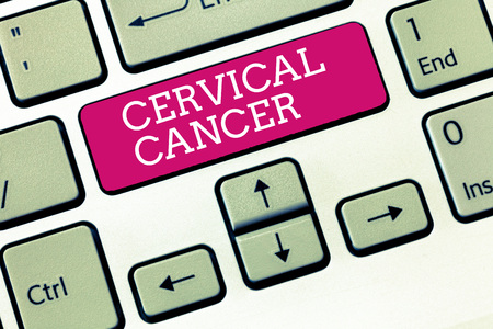 Handwriting text Cervical Cancer. Concept meaning occurs when the cells of the cervix grow abnormally. Stock Photo