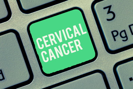 Text sign showing Cervical Cancer. Conceptual photo occurs when the cells of the cervix grow abnormally. Imagens