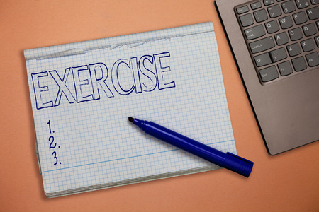 Text sign showing Exercise. Conceptual photo activity requiring physical effort carried out sustain health.