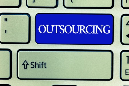 Text sign showing Outsourcing. Conceptual photo Obtain goods or service by contract from an outside supplier. Banque d'images