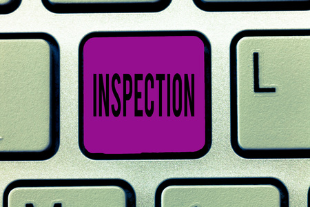 Writing note showing Inspection. Business photo showcasing Careful examination or scrutiny Investigation Review Evaluation. Imagens