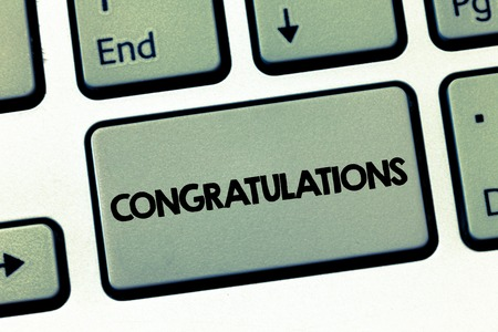 Text sign showing Congratulations. Conceptual photo Expressing praise for an achievement of someone Good wishes.