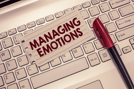 Conceptual hand writing showing Managing Emotions. Business photo showcasing Controlling feelings in oneself Maintain composure. 스톡 콘텐츠