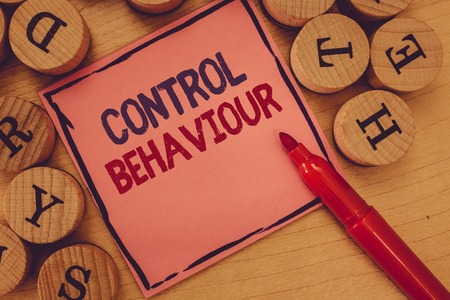 Conceptual hand writing showing Control Behaviour. Business photo text Exercise of influence and authority over human conduct.