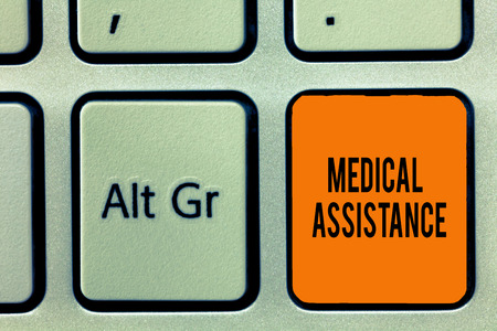 Handwriting text writing Medical Assistance. Concept meaning provides health care coverage for showing with low income. Stock Photo