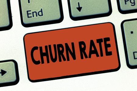 Text sign showing Churn Rate. Conceptual photo Percentage customers stop subscribing Employees leave job. Stock Photo