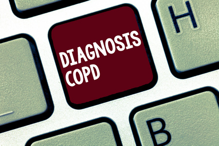 Handwriting text Diagnosis Copd. Concept meaning obstruction of lung airflow that hinders with breathing.