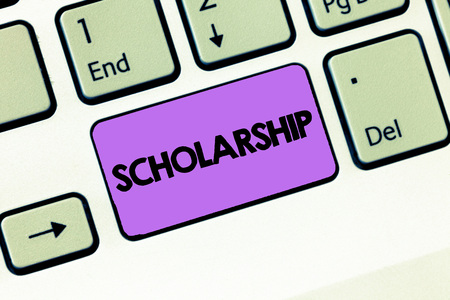 Text sign showing Scholarship. Conceptual photo Grant or Payment made to support education Academic Study. Foto de archivo