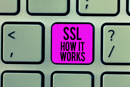Word writing text Ssl How It Works. Business concept for session key is used to encrypt all transmitted data.