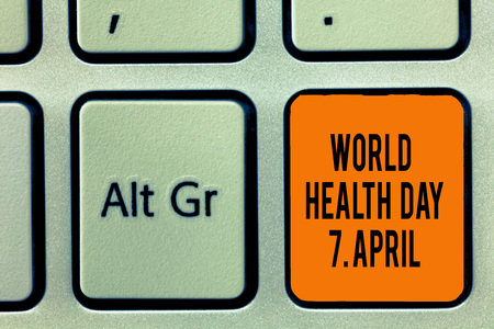 Handwriting text writing World Health Day 7 April. Concept meaning Global day of awareness to different health topics. Reklamní fotografie