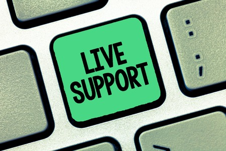Handwriting text writing Live Support. Concept meaning Web service that allows visitors to communicate with business.