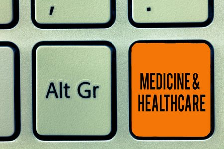 Handwriting text writing Medicine and Healthcare. Concept meaning Health maintenance Disease prevention and treatment.