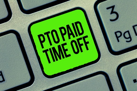 Writing note showing Pto Paid Time Off. Business photo showcasing Employer grants compensation for personal leave holidays. Stockfoto