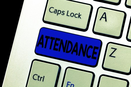 Word writing text Attendance. Business concept for Going regularly Being present at place or event Number of showing. Stock fotó